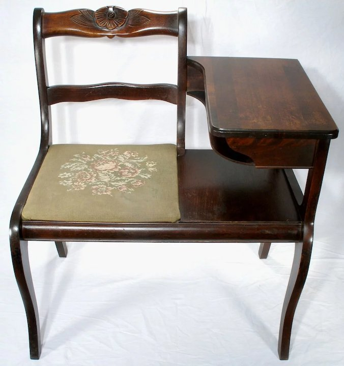 phone table. vintage frankson mahogany wood telephone phone table gossip chair desk bench i