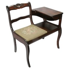 Vintage Frankson Mahogany Wood Telephone Phone Table Gossip Chair Desk Bench