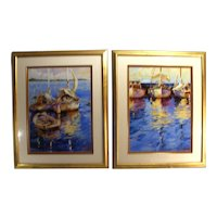 Vintage Signed Modern Impressionist Acrylic Art Sailboat Nautical Boat Prints Set Of 2