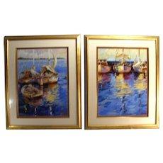 Vintage Signed Modern Impressionist Acrylic Art Sailboat Nautical Boat Prints Set Of 2