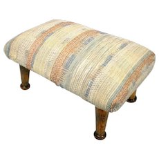 Vintage Arts & Crafts Mission Tapestry Wood Flat Ball Foot Stool