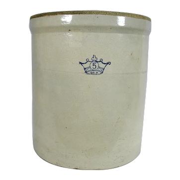 Ransbottom Brothers Pottery Co 5 Gal Stoneware Fermenting Crock