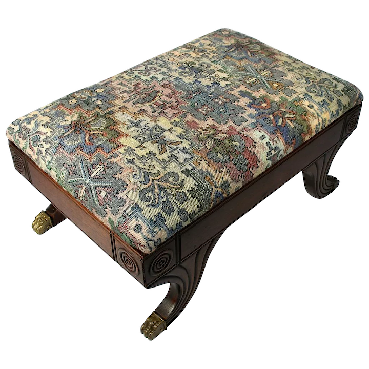 Miraculous Antique Eastlake Federal Tapestry Bulls Eye Claw Foot Stool Footstool Bench Gamerscity Chair Design For Home Gamerscityorg