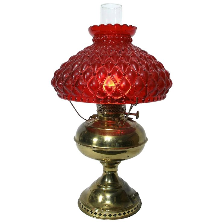 Vintage Victorian Style Gone W The Wind Br Table Lamp Light Red Gl Shade