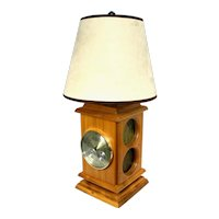 Vintage Taylor Instrument Barometer Wooden Base Table Lamp.