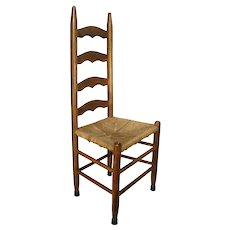 Vintage Mid Century Statesville, N.C. Rush Cane Seat Slat Mission Style Kitchen Side Chair