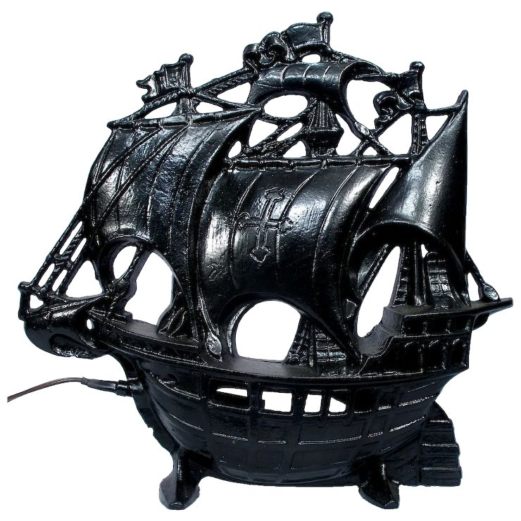 Vintage Nautical Schooner Sail Boat Pirate Ship Cast Iron TV ...