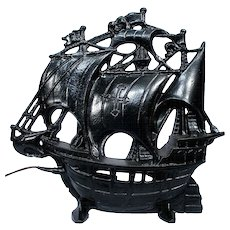 Vintage Nautical Schooner Sail Boat Pirate Ship Cast Iron TV Television Lamp Light