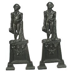 Antique 1890 Figural George Washington Cast Iron Large Andirons Fire Place Dogs