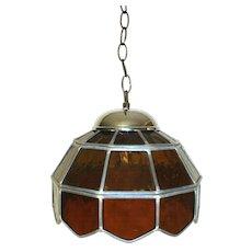 Vintage 1950 Amber Art Glass Leaded Ceiling Hanging Lamp Light Shade Chandelier