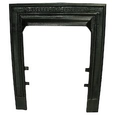 Antique Victorian Cast Iron Ribbed Sparkle Black Fireplace Door Frame Surround