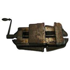 "Vintage Heavy Duty J.H. Williams Machinist Milling Clamp Vise Tool Speed Crank Handle 6"" 71 Lbs"