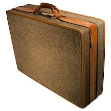 Vintage Hartmann Brass Leather Tweed Damask Train Airplane Luggage Suitcase