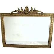Antique Victorian Art Nouveau Shell Top Gold Gilt Wood Frame Foliage Wall Mirror