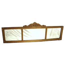 Antique Art Three Section Gold Gilt Wood Capitol Baltimore Co Wall Mantel Mirror