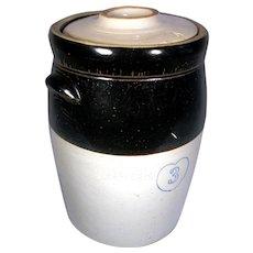Vintage 3 Gal Cobalt Blue Heart Stoneware 2 Tone Crock Butter Milk Churn W/ Lid