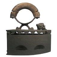 Antique Lion Head Ujvidek B V Serbia Ironing Wood Handle Coal Ash Cast Sad Iron