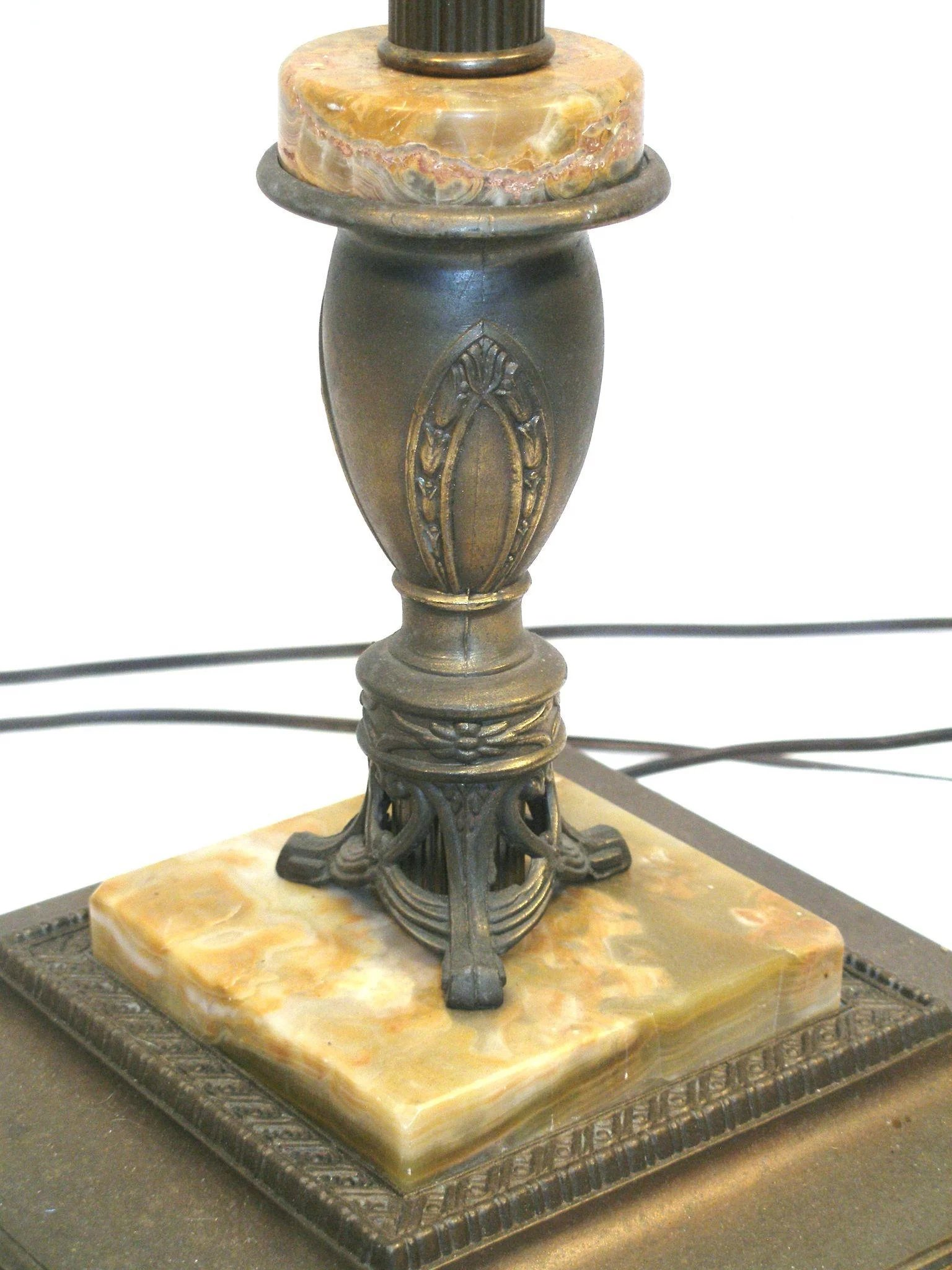 Art Nouveau Style 3 Way Mogul Torchiere Marble Metal Art Floor Lamp Utiques Antiques Ruby Lane