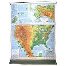 Vintage 1963 Nystrom Retractable Education Pictorial Relief With Merging Color School Atlas American U.S.A. Map.