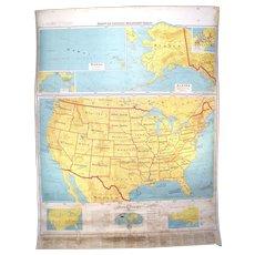 Vintage 1968 Denoyer-Geppert Retractable School Atlas American U.S.A. Map.  Beginners Series