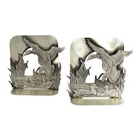 Vintage Pewter Metal Handsome Mallard Flying Ducks On A Pond Bookends Book Ends