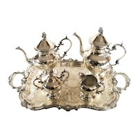 Vintage Birmingham Silver Coffee Tea Pot Cream Sugar Tray Nouveau Serving Set