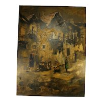Vintage Carlo Of Hollywood Abstract Oil On Canvas Painting Chateau Village Scene