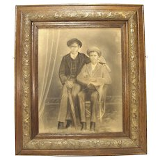 Antique Art Black Americana Men Chalk Charcoal Painting Portrait Original Frame Civil War Era