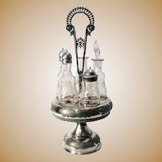 Art Nouveau Meriden Britannia Silver Company Silver Plate Cruet Set 5 Bottles & Stand