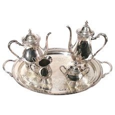 Vintage International Camille 6001 Silver Coffee Tea Pot Tray Art Nouveau 5 Piece Set