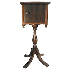 Antique Arts Crafts Solid Walnut & Mahogany Wood Humidor Smoking Stand Table