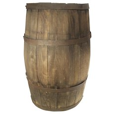 Antique Wood Slat Old Patina Banded 20 Gal Barrel Water Whiskey Wine Keg