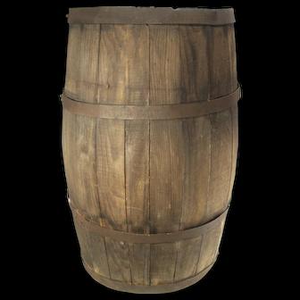 Antique Wood Slat Old Patina Banded 20 Gal Barrel Water Whiskey Wine Keg