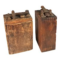 Set Of 2 Antique Ford Motor Model 'A' or Model 'T' Wood Box Ignition Coils