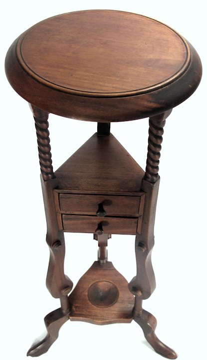 Antique Arts Crafts Solid Mahogany Wood Smoking Stand Wine Table