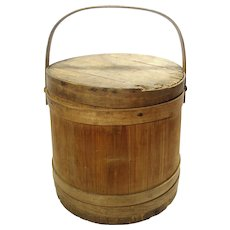Antique Bent Wood Banded Oak Slat Sugar Firkin Barrel Bucket With Lid