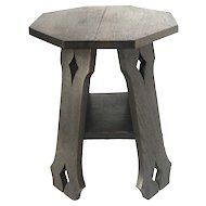 Antique Arts & Crafts Era Mission Style Oak Wood Diamond Pattern Bench / Side Table