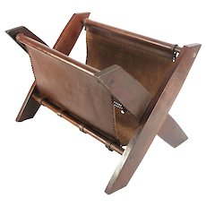 id Century Modern Oak Wood & Leather Magazine Rack Stand