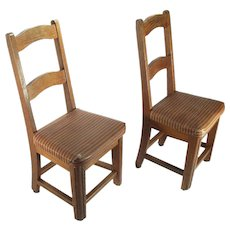 Antique Arts & Crafts Solid Oak Old School House Child's Doll Display Chairs Set Of 2