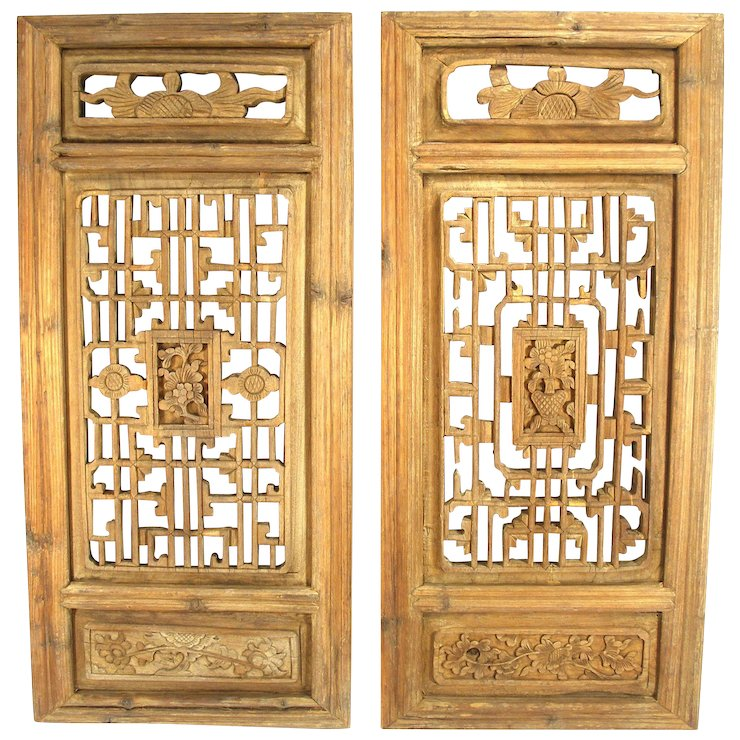 Antique Hand Carved Oriental Mahogany Wood Shutters / Wall Art ...
