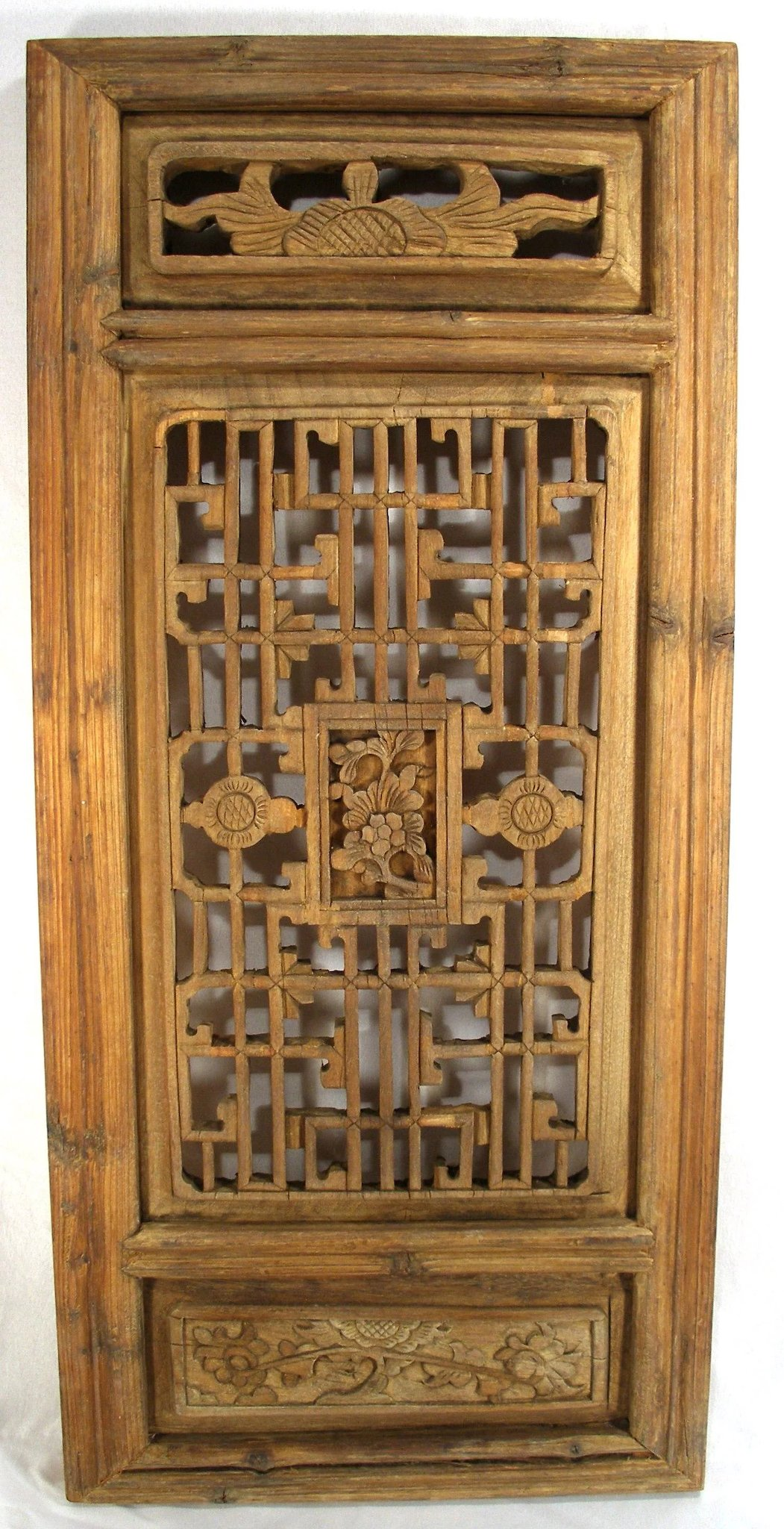 Antique Hand Carved Oriental Mahogany Wood Shutters Wall