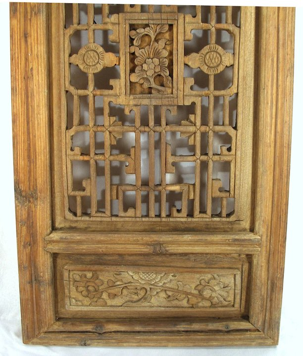 Antique Hand Carved Oriental Mahogany Wood Shutters / Wall Art / Furniture  Doors Panels
