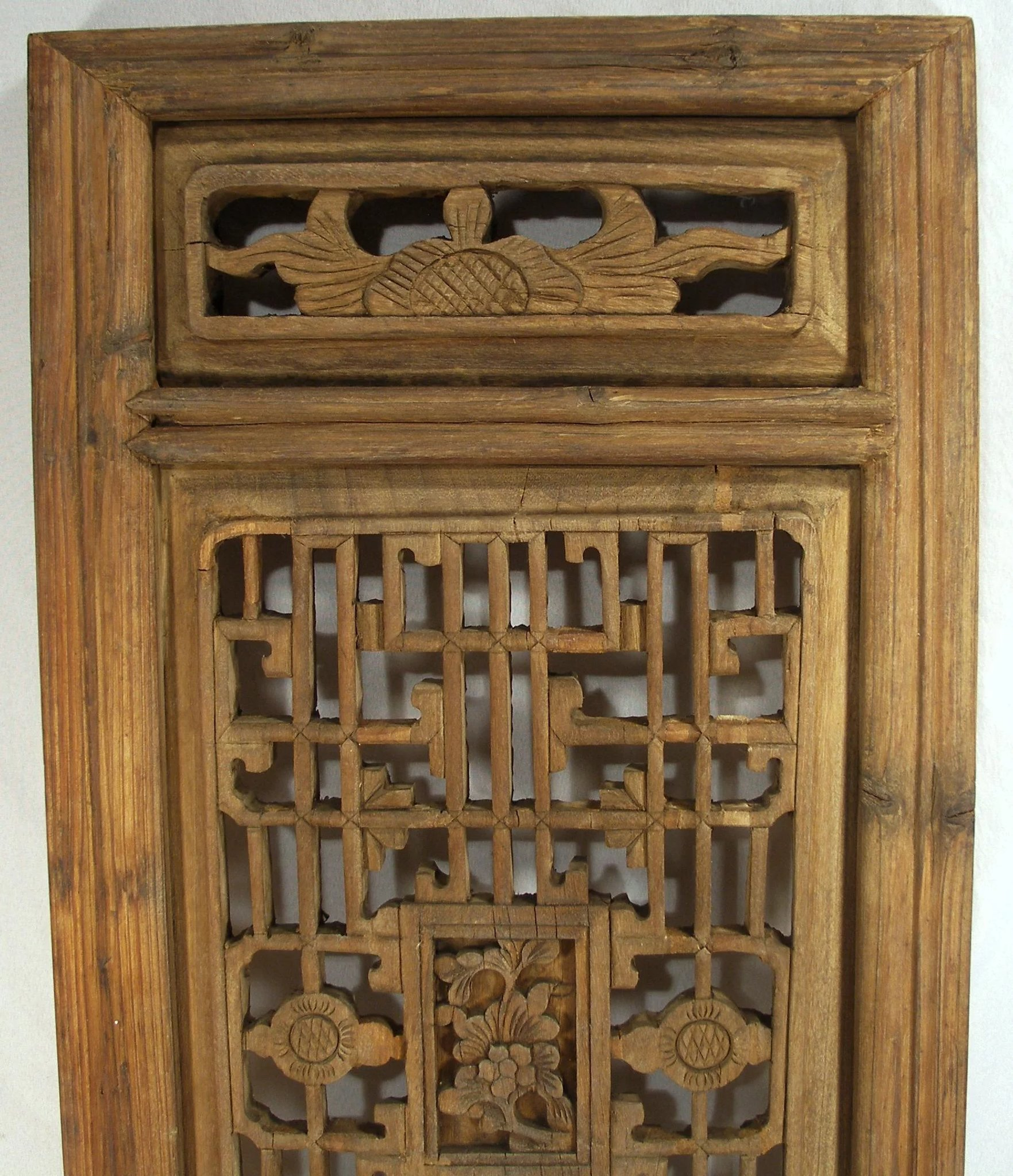 Antique Bed: Antique Hand Carved Oriental Mahogany Wood Shutters / Wall