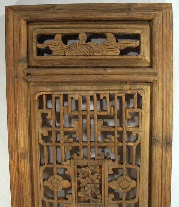 Antique Hand Carved Oriental Mahogany Wood Shutters Wall Art