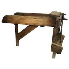 Antique Tobacco Sugar Cane Chaff Guillotine Cutter Chopper Wood Trough Table