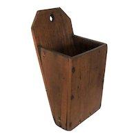Antique Arts & Crafts Hand Made Folk Art Oak Wood Candle Box