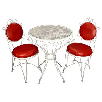 Vintage Mid Century Red White Wrought Iron Ice Cream Parlor Patio Kitchen Table & Chairs