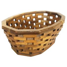 Vintage Hand Crafted Appalachian Native Hard Wood Slat Basket Oval Bread Bowl