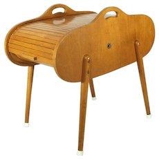 Vintage Mid Century Modern Yugoslavia Roll Top Blond Wood Sewing / Jewelry Box.