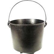 Antique T.R.S. Cast Iron Kettle Cauldron Cowboy Camp Fire Reenactment Hanging Rare Pot